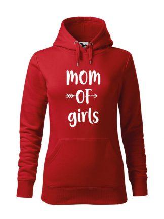 Czerwona bluza damska z białym napisem Mom Of Girls. Bluza typu kangur z kapturem.