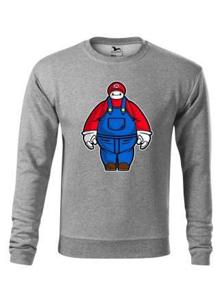 Szara bluza męska z karykaturą postaci z gry wideo. Bluza wkładana, bez kaptura.
