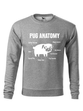 Szara bluza męska z białym nadrukiem Pug Anatomy. Bluza wkładana, bez kaptura.