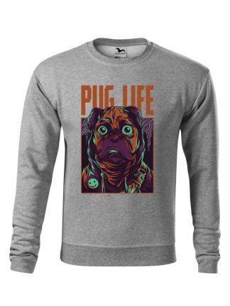 Szara bluza męska z kolorowym nadrukiem Pug Life. Bluza wkładana, bez kaptura.