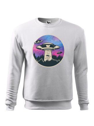 Biała bluza męska z nadrukiem UFO porywającego człowieka. Bluza wkładana, bez kaptura.