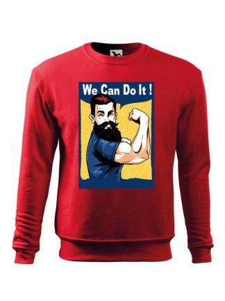Czerwona bluza męska z nadrukiem We Can Do It! Bluza wkładana, bez kaptura.