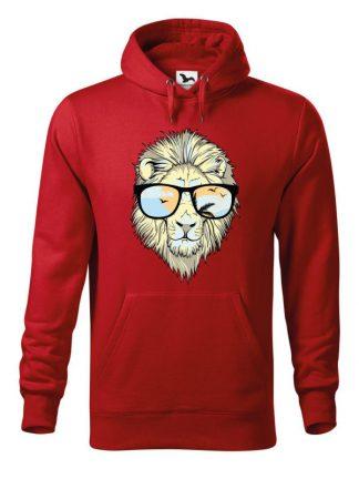 Czerwona bluza męska z nadrukiem lwa w okularach. Bluza typu kangur z kapturem.