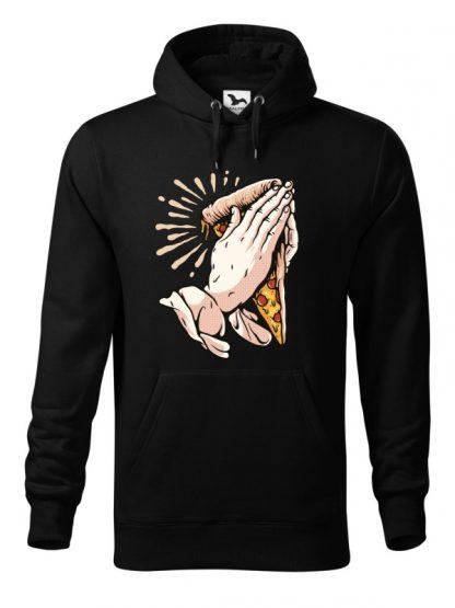 Czarna bluza męska z zabawnym nadrukiem dłoni trzymających kawałek pizzy i złożonych do modlitwy. Bluza typu kangur z kapturem.