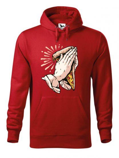 Czerwona bluza męska z zabawnym nadrukiem dłoni trzymających kawałek pizzy i złożonych do modlitwy. Bluza typu kangur z kapturem.