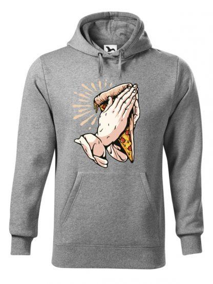 Szara bluza męska z zabawnym nadrukiem dłoni trzymających kawałek pizzy i złożonych do modlitwy. Bluza typu kangur z kapturem.