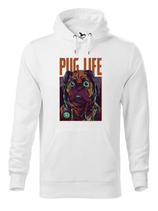 Biała bluza męska z kolorowym nadrukiem Pug Life. Bluza typu kangur z kapturem.Szara bluza męska z kolorowym nadrukiem Pug Life. Bluza typu kangur z kapturem.