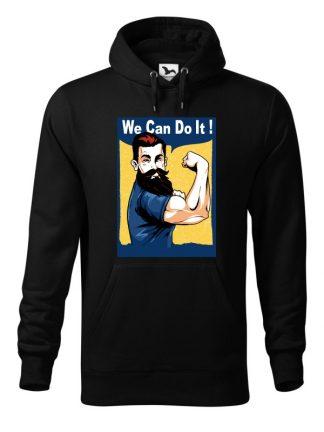 Czarna bluza męska z nadrukiem We Can Do It! Bluza typu kangur z kapturem.