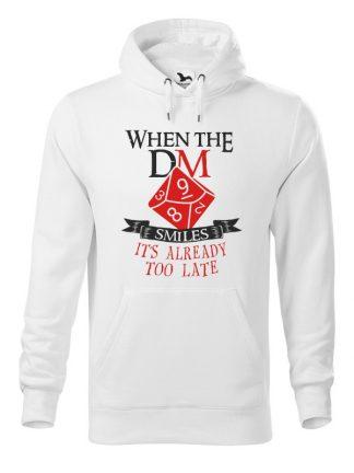 Biała bluza męska z napisem When The Dungeon Master Smiles It's Already Too Late. Bluza typu kangur z kapturem.