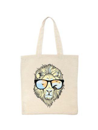 Ekologiczna ekotorba bawełniana w kolorze ecru, z kolorowym nadrukiem lwa w okularach.