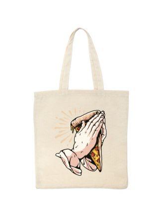 Ekologiczna ekotorba bawełniana w kolorze ecru, z zabawnym nadrukiem dłoni trzymających kawałek pizzy i złożonych do modlitwy.