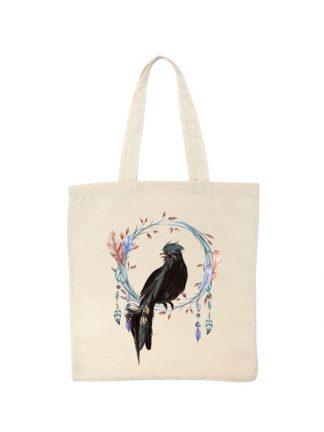 Ekologiczna ekotorba bawełniana w kolorze ecru, z kolorowym nadrukiem ptaka w stylu boho.
