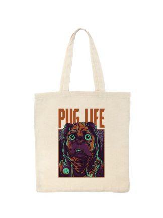 Ekologiczna ekotorba bawełniana w kolorze ecru, z kolorowym nadrukiem Pug Life.