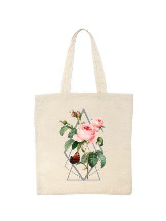 Ekologiczna ekotorba bawełniana w kolorze ecru, z kolorowym nadrukiem róży w stylu boho.