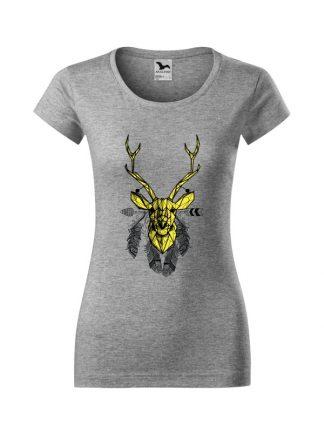 Damska koszulka z krótkim rękawem i geometrycznym nadrukiem żółtego jelenia otoczonego piórami. Krój slim-fit, kolor szary.