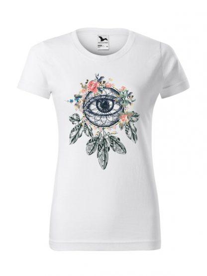 Biała koszulka damska z krótkim rękawem i kolorowym nadrukiem łapacza snów w stylu boho.