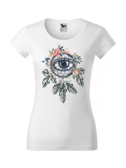 Biała koszulka damska slim-fit z krótkim rękawem i kolorowym nadrukiem łapacza snów w stylu boho.