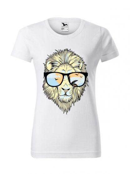 Męska damska z krótkim rękawem i nadrukiem lwa w okularach przeciwsłonecznych. Krój standardowy, kolor biały.
