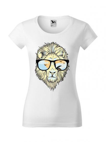 Męska damska z krótkim rękawem i nadrukiem lwa w okularach przeciwsłonecznych. Krój slim-fit z dekoltem, kolor biały.