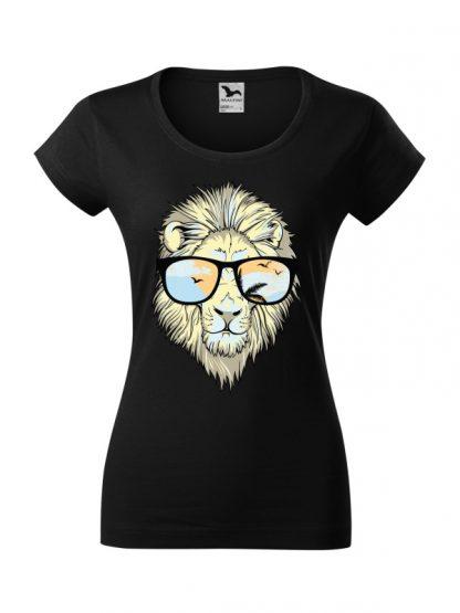 Męska damska z krótkim rękawem i nadrukiem lwa w okularach przeciwsłonecznych. Krój slim-fit z dekoltem, kolor czarny.