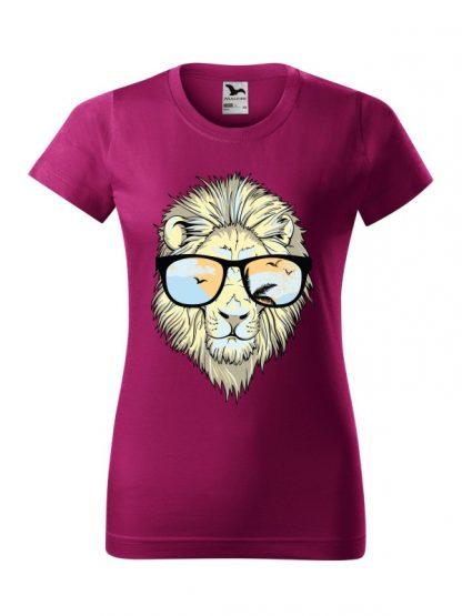 Męska damska z krótkim rękawem i nadrukiem lwa w okularach przeciwsłonecznych. Krój standardowy, kolor fuksja.