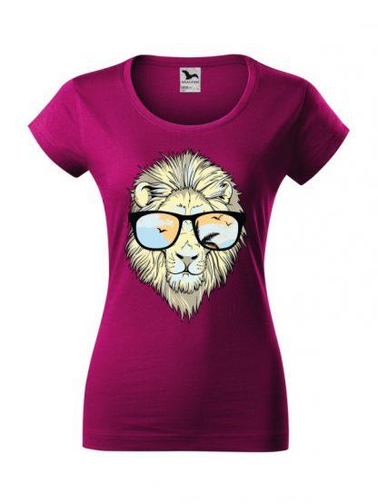 Męska damska z krótkim rękawem i nadrukiem lwa w okularach przeciwsłonecznych. Krój slim-fit z dekoltem, kolor fuksja.