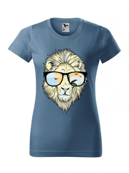Męska damska z krótkim rękawem i nadrukiem lwa w okularach przeciwsłonecznych. Krój standardowy, kolor jeans.