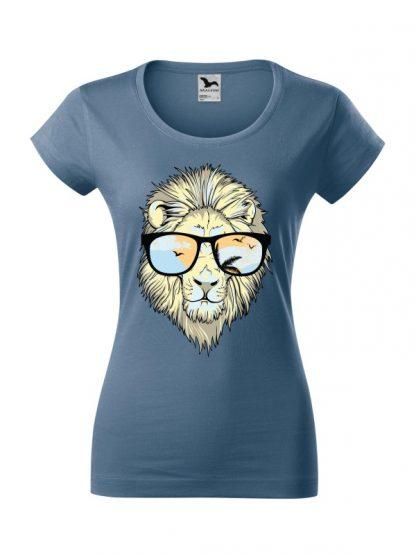 Męska damska z krótkim rękawem i nadrukiem lwa w okularach przeciwsłonecznych. Krój slim-fit z dekoltem, kolor jeans.