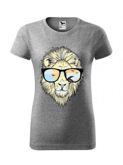 Męska damska z krótkim rękawem i nadrukiem lwa w okularach przeciwsłonecznych. Krój standardowy, kolor szary.