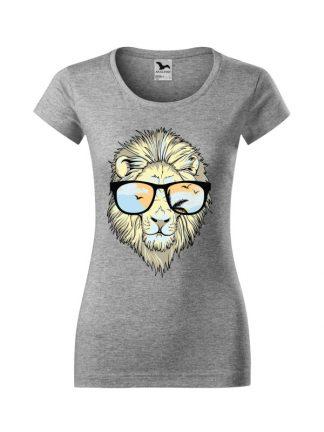 Męska damska z krótkim rękawem i nadrukiem lwa w okularach przeciwsłonecznych. Krój slim-fit z dekoltem, kolor szary.