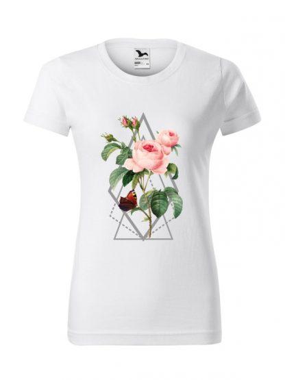 Damska koszulka z krótkim rękawem i kolorowym nadrukiem róży w stylu boho. Krój standardowy, kolor biały.