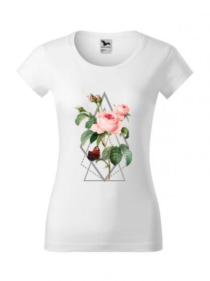 Damska koszulka z krótkim rękawem i kolorowym nadrukiem róży w stylu boho. Krój slim-fit, kolor biały.