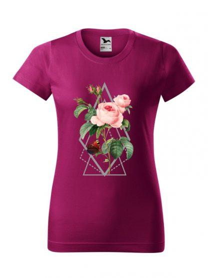Damska koszulka z krótkim rękawem i kolorowym nadrukiem róży w stylu boho. Krój standardowy, kolor fuksja.