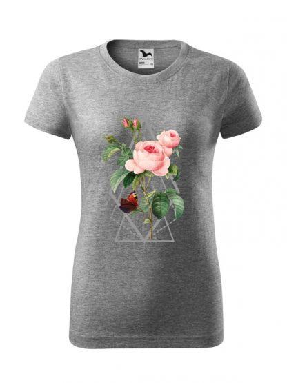 Damska koszulka z krótkim rękawem i kolorowym nadrukiem róży w stylu boho. Krój standardowy, kolor szary.