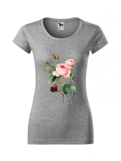 Damska koszulka z krótkim rękawem i kolorowym nadrukiem róży w stylu boho. Krój slim-fit, kolor szary.