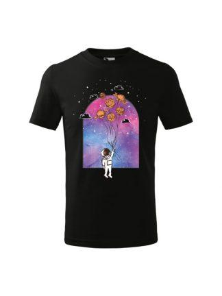 Dziecięcia koszulka z krótkim rękawem i nadrukiem astronauty trzymającego balony z planet. Kolor czarny.