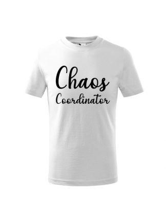Koszulka dziecięca z napisem Chaos Coordinator. Kolor biały.