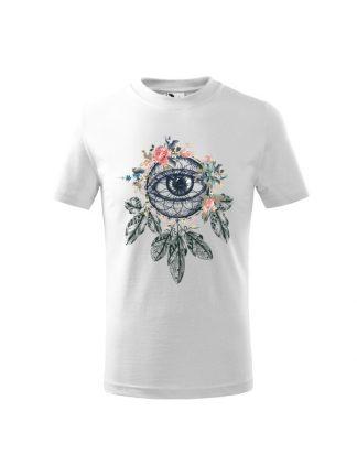 Biała koszulka dziecięca z krótkim rękawem i kolorowym nadrukiem łapacza snów w stylu boho.