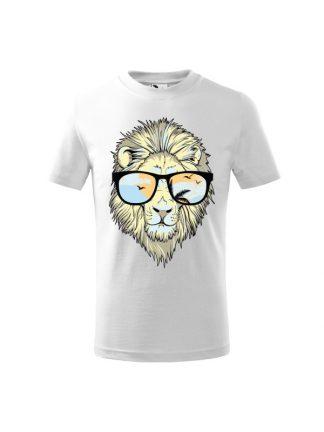 Dziecięca koszulka z krótkim rękawem i nadrukiem lwa w okularach przeciwsłonecznych. Kolor biały.