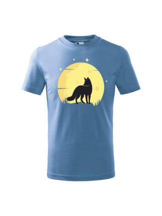 Koszulka dziecięca z krótkim rękawem. Kolorowy nadruk lisa ne tle księżyca. Koszulka błękitna.