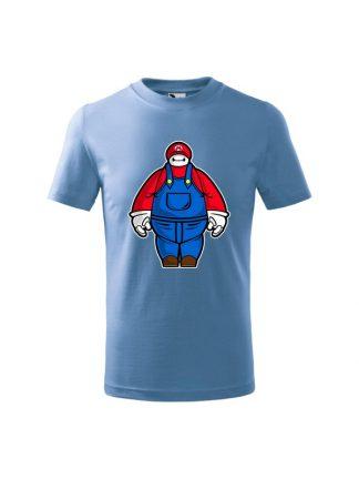 Dziecięca koszulka z krótkim rękawem i karykaturą postaci z gry wideo. Koszulka błękitna.