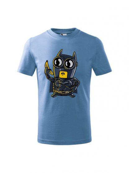 Dziecięca koszulka z krótkim rękawem i karykaturą postaci z komiksu. Koszulka błękitna.