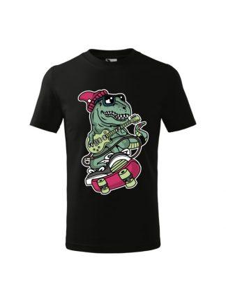 Dziecięca koszulka z T-Rexem w czapce jadącego na deskorolce i grającego na gitarze. Kolor czarny.