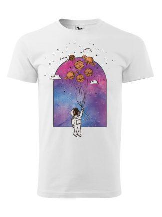Męska koszulka z krótkim rękawem w kolorze białym, z nadrukiem astronauty trzymającego balony z planet.
