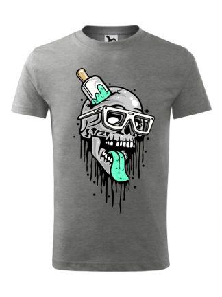 Męska koszulka z krótkim rękawem i komiksowym nadrukiem czaszki przebitej lodem na patyku. Koszulka o kroju standardowym, w kolorze szarym.