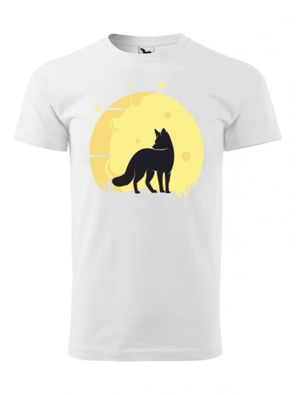 Koszulka męska z krótkim rękawem. Kolorowy nadruk lisa ne tle księżyca. Koszulka biała.
