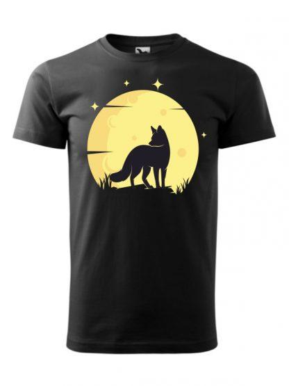 Koszulka męska z krótkim rękawem. Kolorowy nadruk lisa ne tle księżyca. Koszulka czarna.