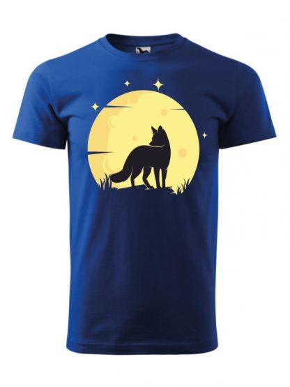 Koszulka męska z krótkim rękawem. Kolorowy nadruk lisa ne tle księżyca. Koszulka niebieska.