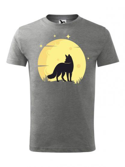 Koszulka męska z krótkim rękawem. Kolorowy nadruk lisa ne tle księżyca. Koszulka szara.