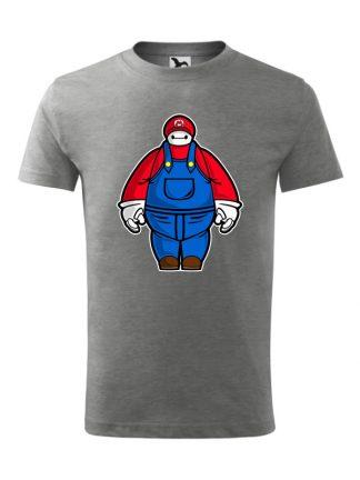 Męska koszulka z krótkim rękawem i karykaturą postaci z gry wideo. Koszulka szara.